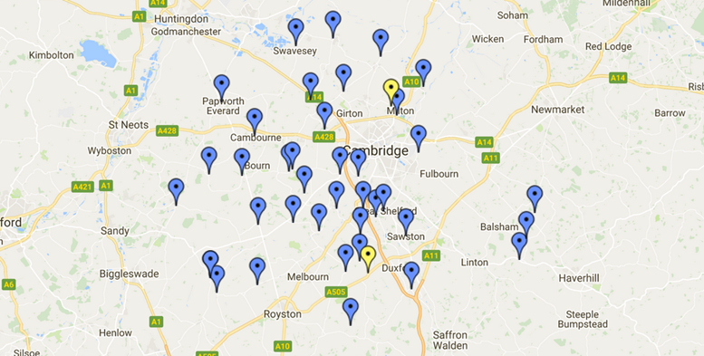 Recycling banks map