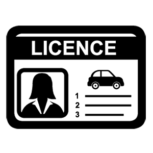 Black icon - car licence female