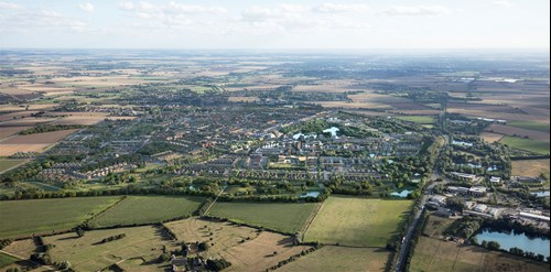 An aerial view of the planned new town north of Waterbeach