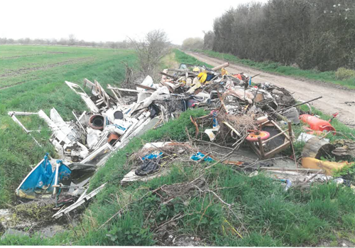 Fly tipping at Setchel Drove site