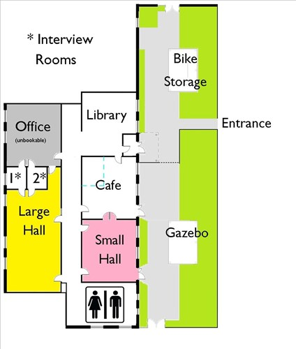 This is a plan of the Northstowe Community Wing. There is an entrance from a garden area through to a foyer that is also a microlibrary, and a wide central corridor.  From this corridor the cafe, both halls and toilets are accessable.