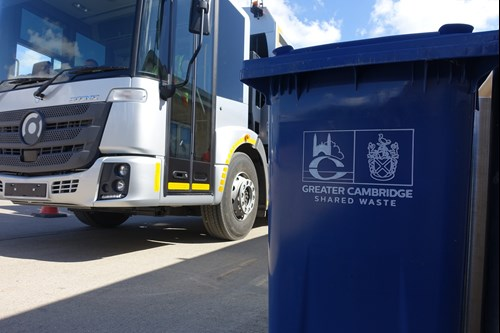 Blue bin and electric bin lorry