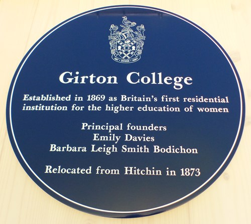 The Blue Plaque at Girton College