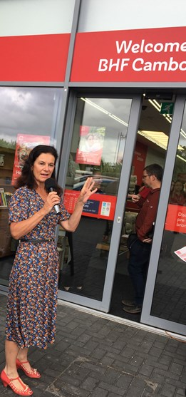 Councillor Bridget Smith opening the British Heart Foundation in Cambourne