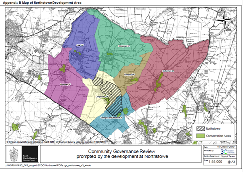 A map of Northstowe development with a hyperlink to a larger version of the map