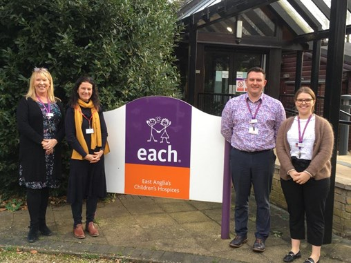 Cllr Bridget Smith with staff from East Anglia's Children Hospice in Milton