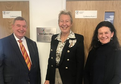 Left to right - John Bridge, Chief Executive of the Chamber of Commerce, Julie Spence, Cambridgeshire Lord Lieutenant and Cllr Bridger Smith, Leader