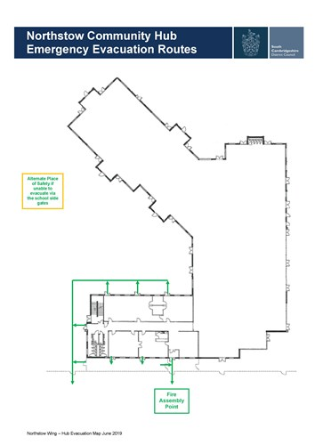 A plan of fire exits from the Northstowe Community Wing showing that the primary fire meeting point is at the large sign at the front of the building, and that there is an alternative at the rear.
