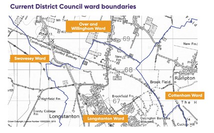 A Map showing the district ward boundaries