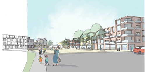 An artist impression of the new town of Northstowe, including homes, green space and families walking