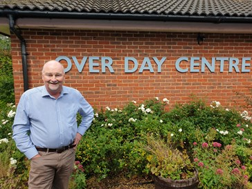 Cllr Bill Handley standing outside Over Day Centre