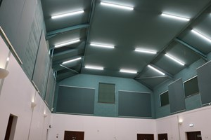 New energy efficient lighting on the inside of the roof if Ickleton Village Hall