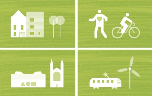 Graphical icons of houses, buildings, people cycling and a motor home next to a wind turbine