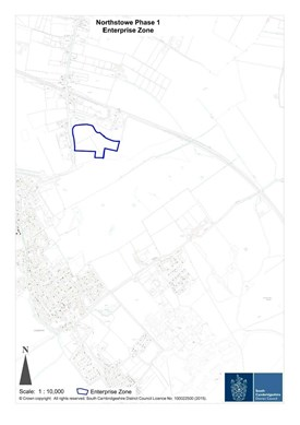 A map with the Northstowe Phase 1 Enterprise Zone clearly marked in blue