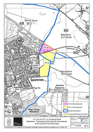 A map showing the new proposed boundary for Babraham / Sawston